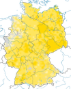 Karte zur Verbreitung des Neuntöters in Deutschland