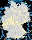 Karte zur Verbreitung des Schwarzstorch (Ciconia nigra) in Deutschland