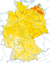 Karte zur Verbreitung der Klappergrasmücke in Deutschland