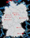 Karte zu den Nachweisen der Ringschnabelmöwe in Deutschland.