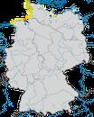 Karte zur Verbreitung der Küstenseeschwalbe (Sterna paradisaea)  in Deutschland