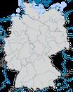 Karte zur Verbreitung der Zwergmöwe (Hydrocoloeus minutus) in Deutschland