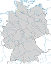 Karte zur Verbreitung der Lachseeschwalbe (Gelochelidon nilotica) in Deutschland