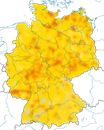 Karte zur Verbreitung der Mehlschwalbe in Deutschland