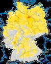 Karte zum Brutvorkommen der Wiesenschafstelze in Deutschland.