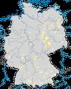 Karte zur Verbreitung der Zwergdommel (Ixobrychus minutus) in Deutschland
