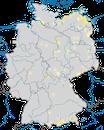 Karte zur Verbreitung des Karmingimpels in Deutschland