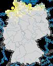 Karte zur Verbreitung des Sandregenpfeifers (Charadrius hiaticula) in Deutschland