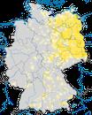 Karte zur Verbreitung des Drosselrohrsängers in Deutschland