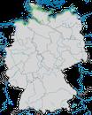 Karte zur Verbreitung der Eiderente (Somateria mollissima) in Deutschland