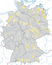 Karte zur Verbreitung des Schwarzhalstauchers (Podiceps nigricollis) in Deutschland