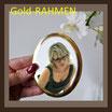 Porzellanbild / sw / oval ! 90 x 120 mm / GOLD-RAHMEN Bestellnummer_2_OGR_90120