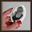 Grabbild / schwarz - weiß - sw / oval ! 80 x 100 mm / GOLD-Rand GOLD Bestellnummer_2_OG_80100
