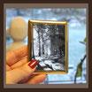 Porzellanbild / GOLD-RAHMEN / schwarz-weiß / Rechteck