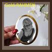 Porzellanbild / sw / oval ! 80 x 100 mm / GOLD-RAHMEN Bestellnummer_2_OGR_80100