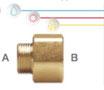 Nipplo ridotti M/F in ottone con filettatura maschio ISO 228 G B (con battuta piana) e filettatura femmina EN 10226 Rp (ISO 7 Rp).