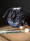 Pochette ronde coton imprimé bleu style ethnique - REF P200