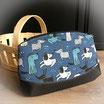 Pochette molletonnée bleue, imprimé petits chiens - REF P209