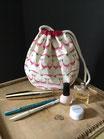 Pochette ronde coton imprimé blanc et rose crevettes - REF P201