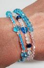 Armband Set verschiedene blaue Perlen und transparent