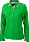 damen pique polo langarm green/white