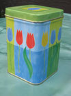 Teedose Tulpe grün-blau