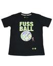 Fussball 90 - Kinder Kurzarm Shirt, 6-7 Jahre, schwarz