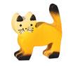 Katze gelb stehend, handgesägt und handbemalt