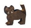 Katze schwarz stehend, handgesägt und handbemalt