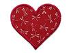 Herz Applikation Libelle weinrot