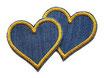 Herz Jeansflicken goldgelb Mini 2er Set