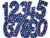 Geburtstagszahlen Aufbügler blau bunte Sterne