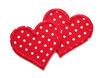 Herz Applikation Pünktchen 2er Set rot