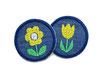Mini Jeansflicken Blume und Tulpe gelb