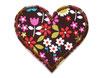 Herz Aufnäher Retro Blumen