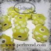 Glasrondelle Gelb mit Dots Hellgelb-Weiss 15x9mm