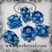 Glasrondelle Blau mit Dots Weiss-Hellblau 15x9mm