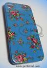 iPhone 4/4S blau mit Rosen-Blumen Muster Schutzhülle