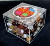 Holzperlenbox, braun-weiss mix