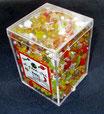 Perlenbox, gelb-orange-rot-weiss mix