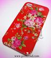 iPhone 4/4S rot mit Rosen-Blumen Muster Schutzhülle