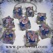 Glaswürfel Flower Saphir blau, Rosa-Weiss 10mm