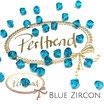 Blue Zircon Bicone Bead 6 mm