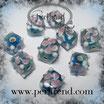 Glaswürfel Flower Aqua blau, Rosa-Weiss 10mm