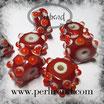 Glasrondelle Rot mit Dots Hellrot-Weiss 15x9mm