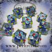 Glaswürfel Flower Königsblau, Hellblau-Weiss 10mm