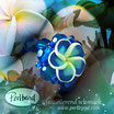 Fingerring Frangipani Blue Green Flower Ring 60/61