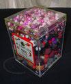 Perlenbox, rosa-violett-weiss mix
