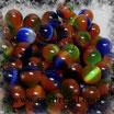 Katzenauge Glasperle Multicolor dunkel 6mm