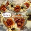 Kopfschmuck Band Boheme Blumen Reihe orange cremeweiss